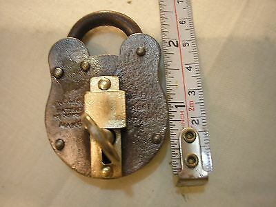 Antique / vintage Belfry 2 lever lock iron and brass padlock and key