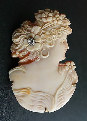 14K Yellow Gold Victorian Carved Shell Cameo Pendant Brooch Unique Rare OG067
