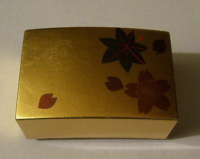 Vintage Amita Corporation Japan Lacquer Trinket Box 24K Gold Leaf New In Box