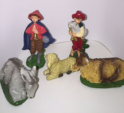 VTG NATIVITY Replacement Animals LOT 2 Shepherds Donkey Cow Sheep ITALY 4""