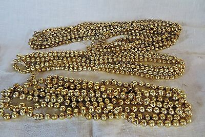 "Vintage Christmas Tree Garland Glass Beads Gold Three Strands, 80"", 96"", & 152"""