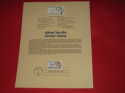 """Stamps 1St Day Issue Page """"alfred Verville """" Air Mail Stamp"""