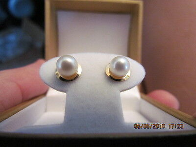 Vintage 14K Solid Yellow Gold Genuine Pearl Earrings Signed Zz R. 585 At.458041