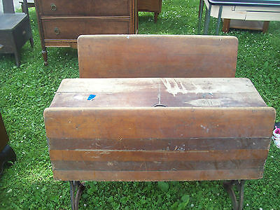 Antique RARE 2 Seat Ink Well School Desk and Seats