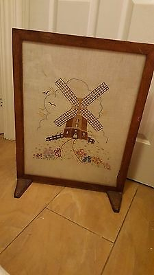 Vintage oak firescreen with hand embroidered dutch Windmill. c 1950. Delightful