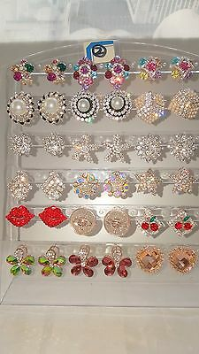 Joblot 18 Pairs Mixed Design Sparkly Diamante stud Earrings-NEW Wholesale lot 2