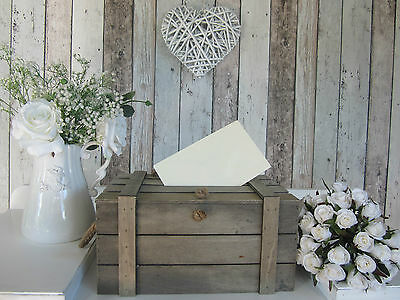 Shabby Vintage Rustic Wooden Box Crate Chest Lid-Storage Wishing Well Medium Sz