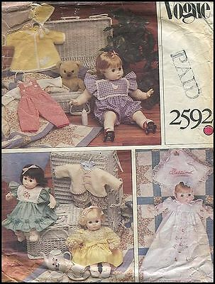 Sm Lg Baby Doll Christening Overalls Coat Hat Romper Clothes Pattern Vogue 2592