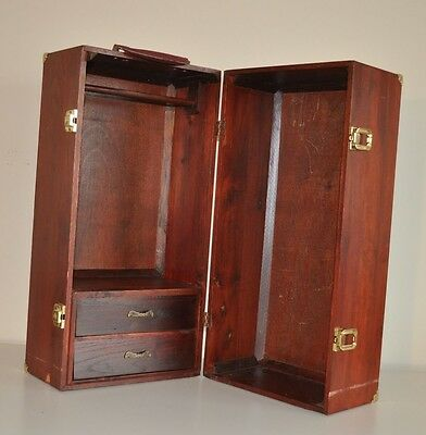American Girl Doll Retired Wood Wardrobe Trunk Carry Case Closet Armoire