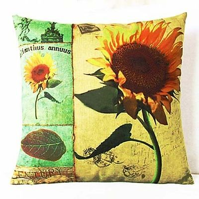 Sale Yellow Big Nice Sunflower Home Decor Zip Cotton Linen Cushion Cover 45cm