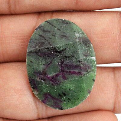 Rare 25.90 Cts Natural Checkered Cut Ruby Ziosite Oval Shaped Loose Gemstone
