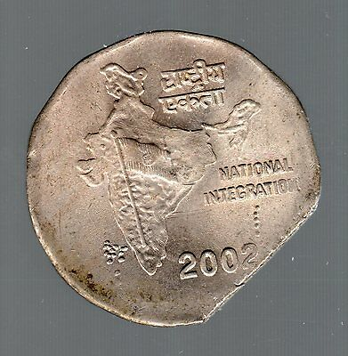 2002 INDIA 2 RUPEE 15% STRAIGHT CLIP w/ BLAKESLY EFFECT OPPOSITE THE ERROR CLIP