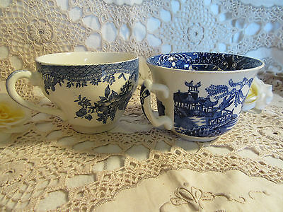 2 X Blue Willow Pattern Cups - English Made