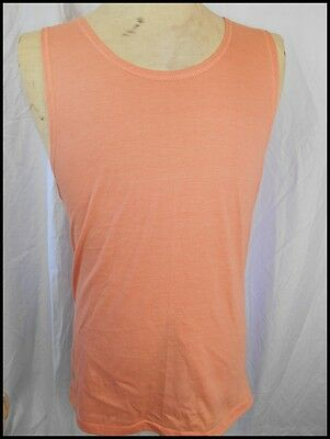 AS NEW! Vintage 80s Orange Coral Poly/Cotton Summer Target Tank Top Singlet 90cm
