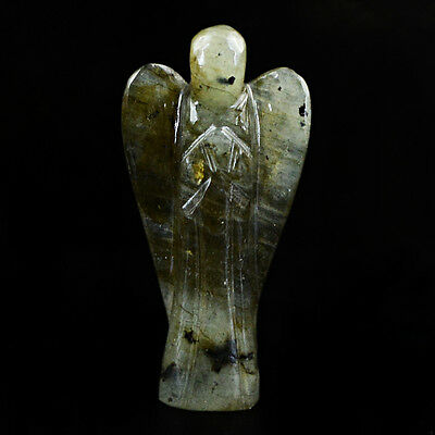 Finest 32.30 Cts Natural Labradorite Carved Healing Angel Untreated Gemstone