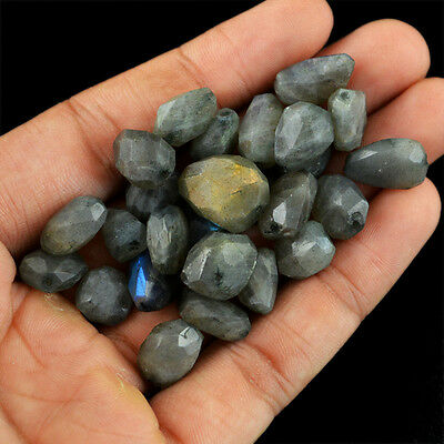 Best Offer 200.90 Cts / 27 PCS Natural Top Drilled Faceted Labradorite Beads Lot