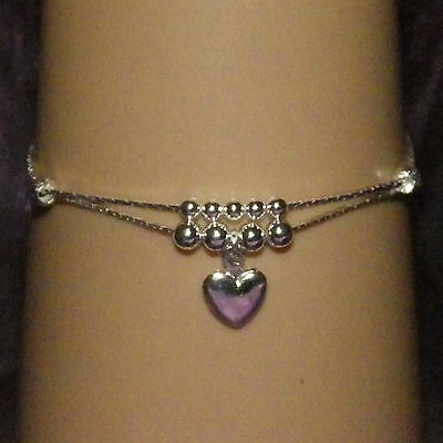 New 925 Sterling Silver Filled 2 Chain Anklet with Beads and Dangling Heart