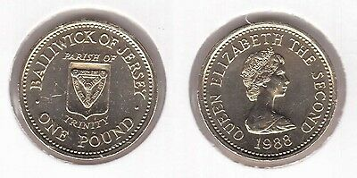 Jersey - Rare 1 Pound Unc Coin 1988 Year Km#73 Trinity