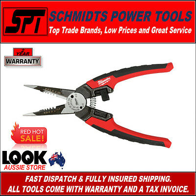 """Milwaukee 48-22-3069 8"""" 6 In One Combination Long Nose Plier / Wire Stripper"""