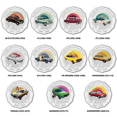 2016 Australia Holden Heritage Set Of 11 X 50 Cents Coloured Car Coins