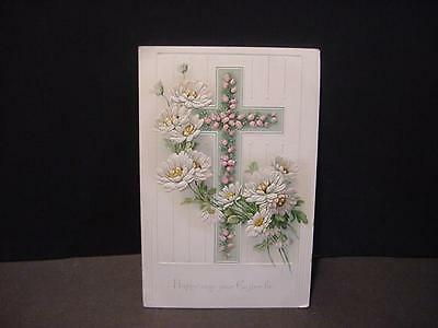 Art Nouveau Embossed Religious EASTER Folder w/Floral Decorated Cross-Unused