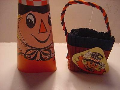 Vintage c1960s HALLOWEEN Conical SCARECROW Noisemaker and Crepe Nut Cup LOT