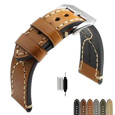 Mens Genuine Leather Watch Band Strap Longer Belt Corss Stitched 20 22 24 26mm