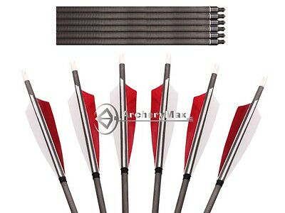 6pk 32 ''Handmade Archery Shield Fletching Mix Carbon Arrows Hunting Screw Tips