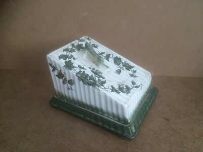 Large Vintage Cheese Dish with Lid by Richmond - Green & White Leaf Pattern A/F