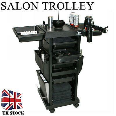 Black ABS Plastic Hair Salon Hairdresser Barer Trolley with Removable Trays #