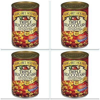 4 CANS MARGARET HOLMES TRIPLE SUCCOTASH butter beans corn tomatoes free recipe