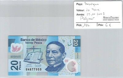 Billet Mexique - 20 Pesos - 28.10.2008 - Polymer