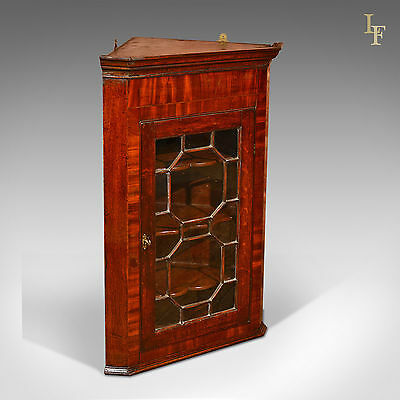 Antique Glazed Hanging Corner Cabinet, Georgian Display Cupboard, English c1800