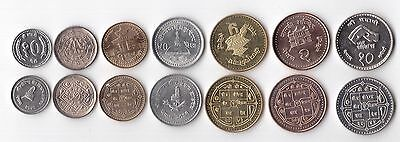 Nepal - 7 Dif Unc Coins Set: 10 Paisa - 10 Rupees 1996-2004 Years