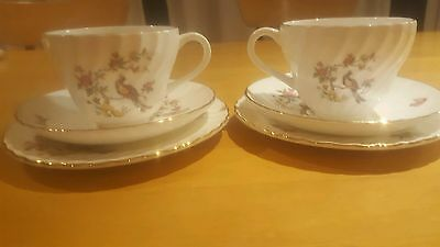 Set of two Crown Staffordshire trios
