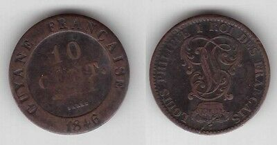 French Guiana - Rare 10 Cents Coin 1846 Year Km#a2