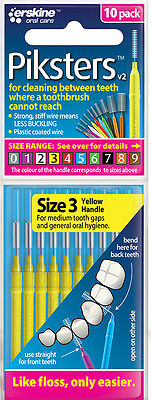 Piksters Interdental Brushes - 10 Pack - Size 3 - Yellow - Brand New