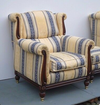 Beautiful Pair of Upholstered Armchairs and Stool