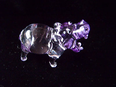 Lovely purple tinted glass Hippopotamus (Hippo) ornament