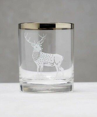 2x *STAG GIFT* PAIR WHISKY TUMBLER GLASS with STAG / DEER FRIEZE METALLIC RIM UK