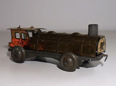 ANTIQUE / VINTAGE TINPLATE PENNY TOY STEAM TRAIN RARE JAPAN 1930's YELLOW / GOLD