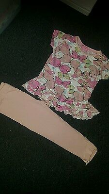 beautiful girls butterfly top and leggings outfit - age 3-4 years