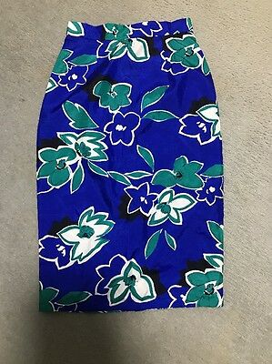 Vintage Floral Pencil Skirt Blue Size Small