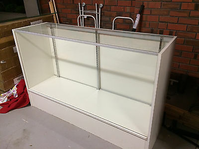 Glass and white melamine shop display cabinet with 2 internal shelves