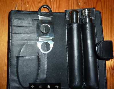 Cigar Holder And Cutter With Flask In Black Wallet