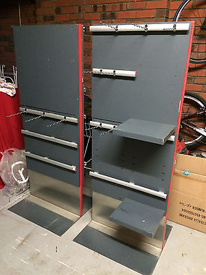 2 x upright double sided hang sell shop display units with hooks and shelves