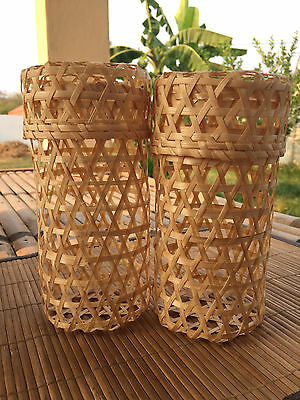 2 Sets of Handmade Vintage Cylindrical bamboo Baskets