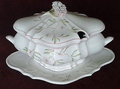 OGG Italy Pink Carnation Soup Tureen Handmade In Italy - Perfect Condition