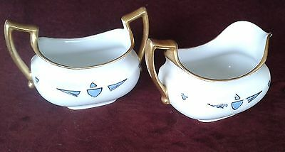 Vintage Imperial China, PSL, Austria, Cream & Sugar, Blue Gold Scroll & Handles