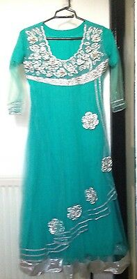 Ladies Sky Blue Anarkali Net Dress Size S Stone Work